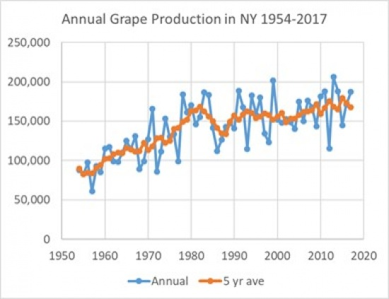 An image showing growth in annual grape production in NY from 1954-2017, showing an overall upward trend.