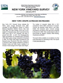 Cover page of 2011 NY vineyard survey