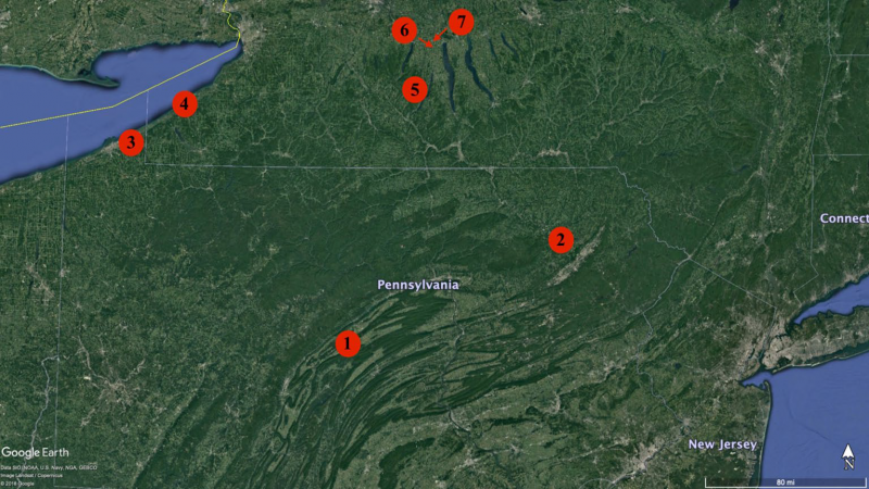 Map showing locations of 7 noiret vineyards in pennsylvania and new york.