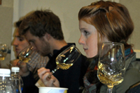 Students taste wine