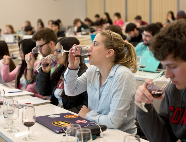 Tasting wines in class